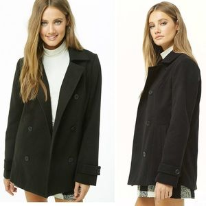 Forever21 Black Fleece Double Breasted Pea Coat L